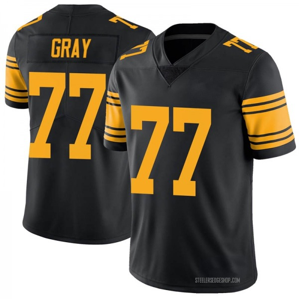 Men's Derwin Gray Pittsburgh Steelers Limited Black Color Rush Jersey
