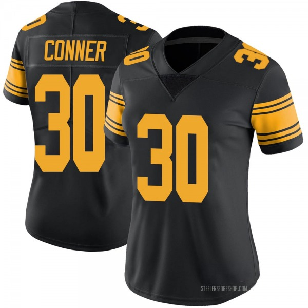 Women's James Conner Pittsburgh Steelers Limited Black Color Rush Jersey