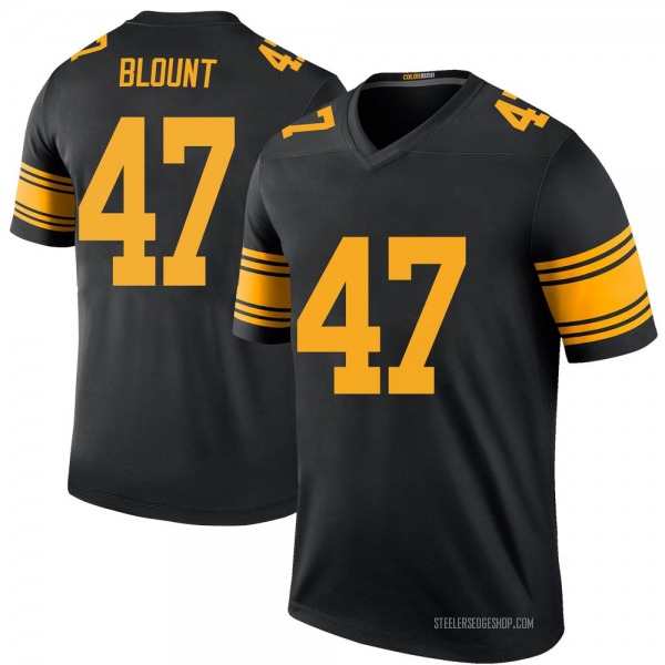 Youth Mel Blount Pittsburgh Steelers Legend Black Color Rush Jersey